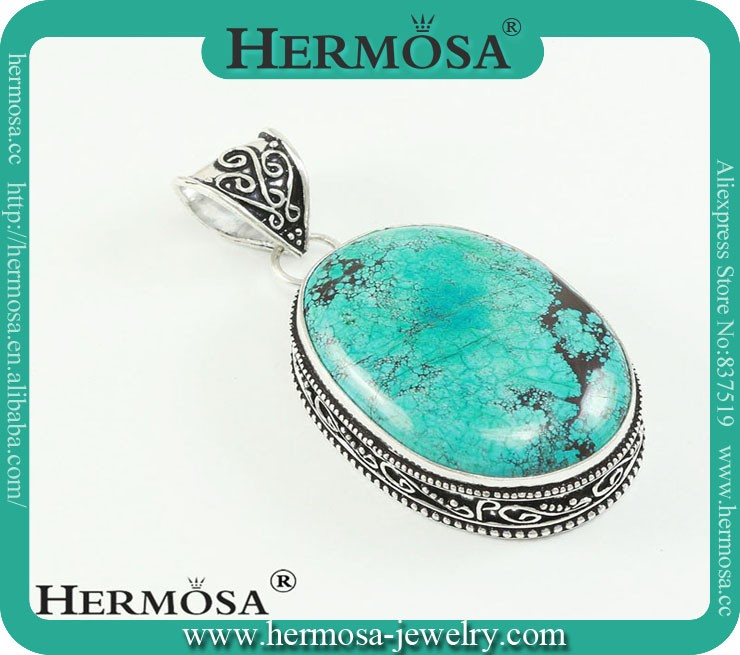HOT SALE Hermosa Jewelry 925 Sterling Silver Cooper Turquoise Necklace Jewelry Pendants Designs