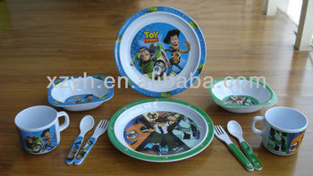 melamine kids dinnerware, kids plate, kids bowl, kids cup and kids cutlery