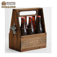 Rustic Wood beer carrier with handle, wooden wine barrel beer holder farmhouse use.