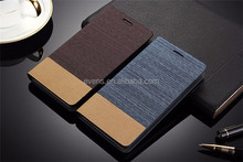 Card Holder Slot Mobile Canvas Flip Leather Book Folio Phone Case for Alcatel OT985