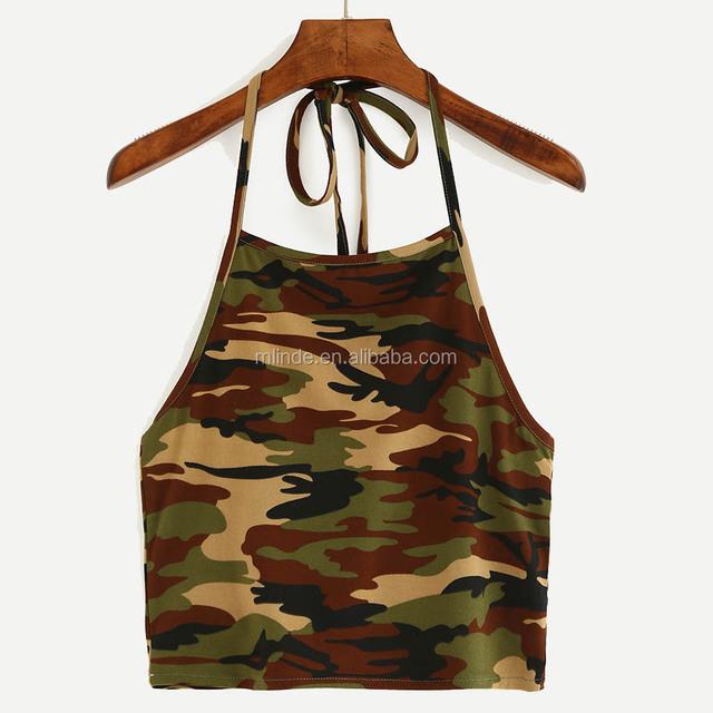 Designer Blouse Models Halter Neck Camouflage Crop Cami Top Women Fancy Sexi Crop Top