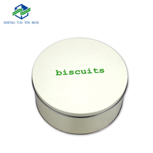 Wholesale packaging solution cakes biscuit tinplate round cookie tin storage metal boxes