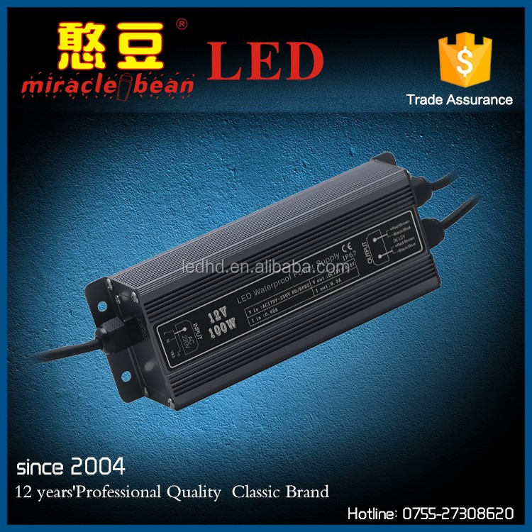 Miracle bean Waterproof IP67 12V 24V led dimmable driver 100W for LED strip light