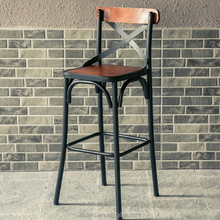 Vintage industrial style supplier high end wooden low back rest bar stools