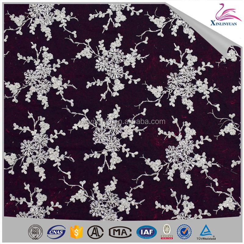 Beads lace fabric sequins embroidered lace for dress