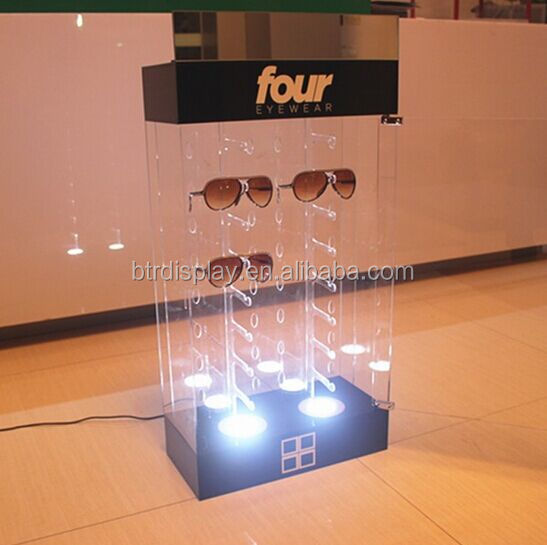 acrylic countertop sunglass display case with lock
