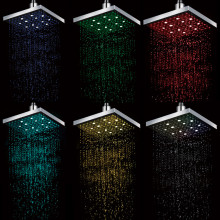7 led colors changing 8 inch Square ABS led top shower head for bathroom