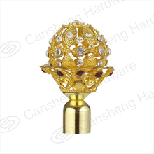 Ball shape diamond curtain rod finials with golden curatin rods 25mm/28mm