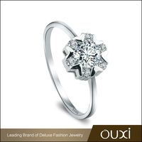Fashion Jewelry Manufacturer OUXI White Silver AAA Zircon Ring