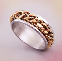 (ELBR0525) Gold chain inlay stainless steel biker ring