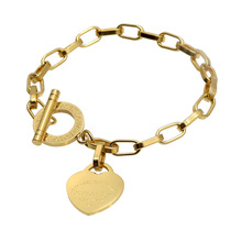 "Fashion Heart Stainless Steel Bracelet ""Forever Love"" Letter Rose Gold Plating Jewelry Hollow Section Chain Women Bangle"