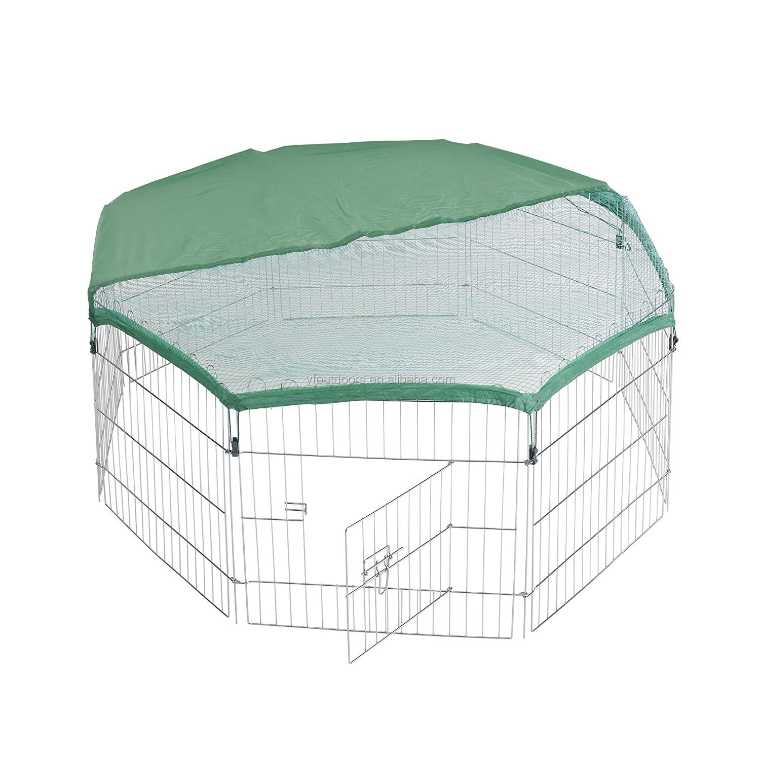 2018 Large steel fence dog kennel outdoor, galvanized silver