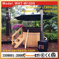 Red Cedar wooden hot tub with stainless steel stove from China factory
