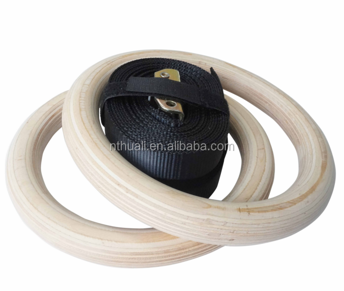 Gymnastic ring portable wooden gym rings for fitness training steel gym ring