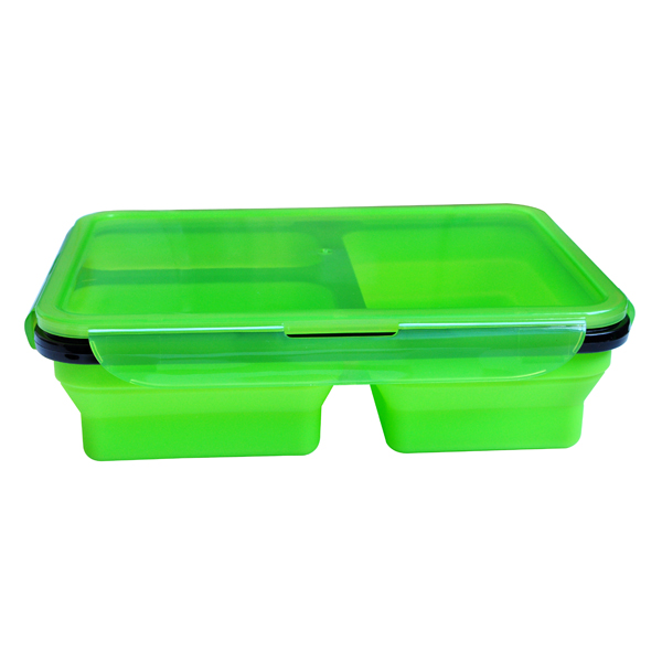 3 Compartment Leakproof Foldable Collapsible Custom Eco Silicone School Kids Lunch Box