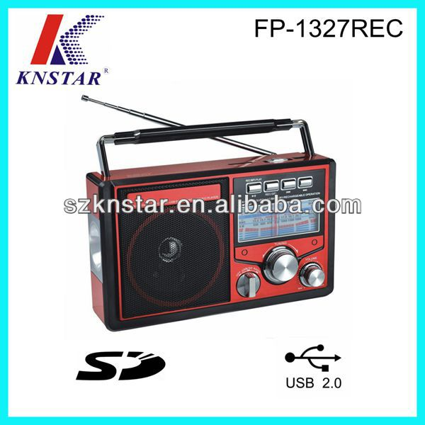 LED torch light FM/AM/SW1-2 radio with AUX IN/SD/USB jack