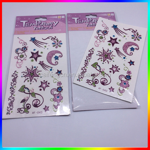 Guangzhou printing glitter body 3d tattoo sticker for man and woman