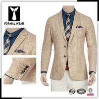 Casual classic camel linen blazer for men