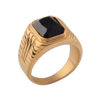 Best Price Black Zirconium Single Stone Gold Ring