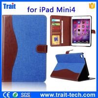 Stylish Jeans Cloth Textured Splice Color for iPad Mini 4 tablet cover