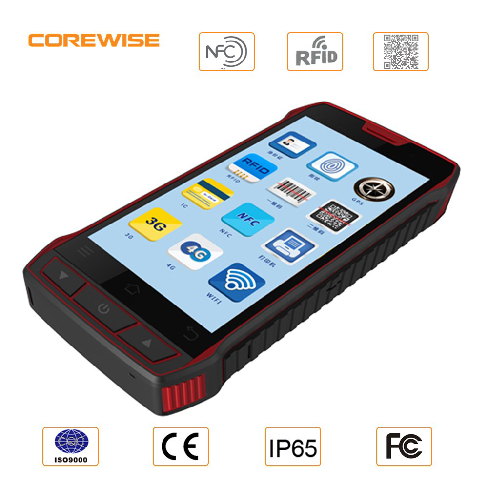 "Factory rugged 5"" Mobile Phone NFC/UHF RFID reader writer China industrial 1d barcode scanner pda"