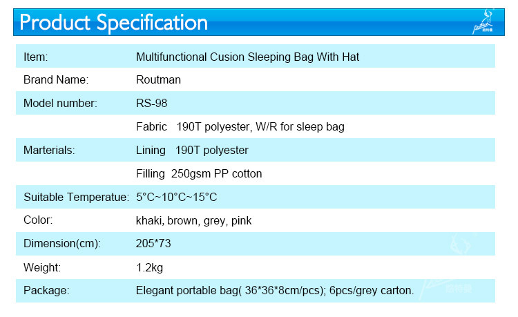 Multifunctional Cusion Sleeping Bag With Hat