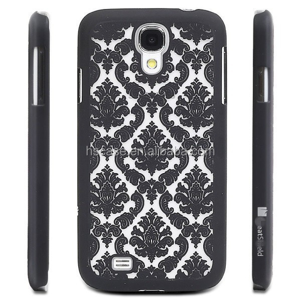 For Samsung Galaxy S4 i9500 Damask Pattern Rubber Matte Hard Back Case Cover