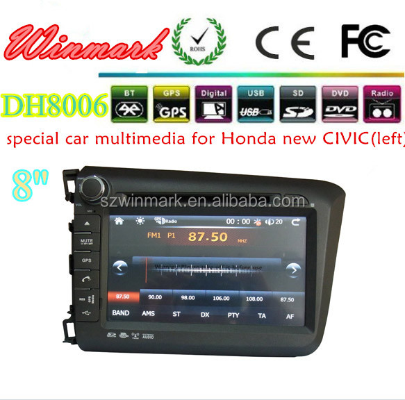 Touch Screen Car Multimedia With GPS for HONDA CIVIC 2012 left driving DH8006