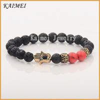 Fashion Men's Black Lava Rock & Sea Sediment Stone Beaded Golden Hamsa Bracelet