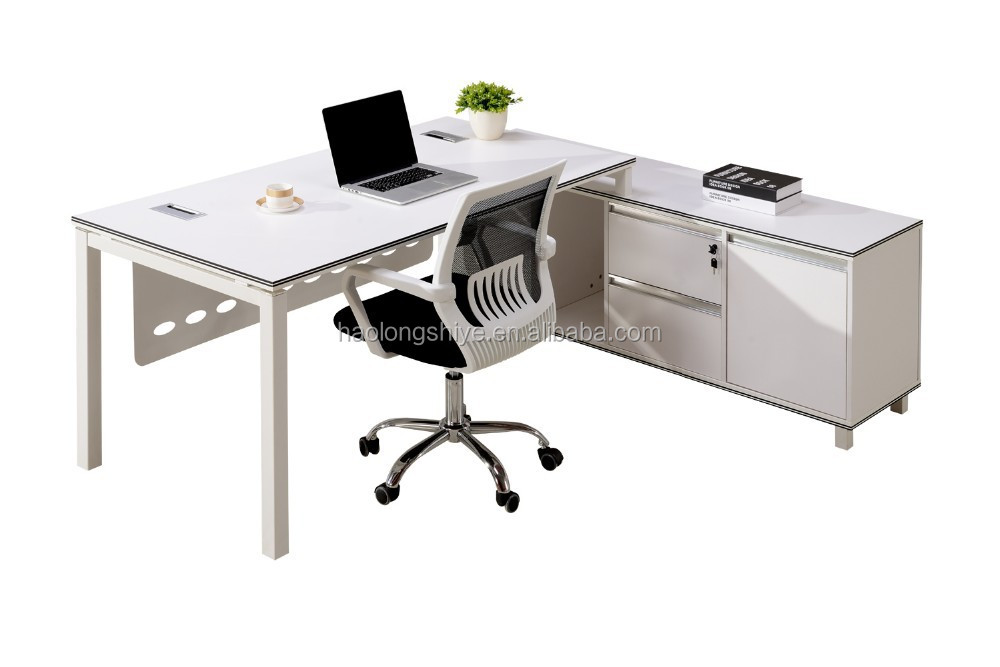 MFC plate L-shape steel executive office desk with mobile pedestal