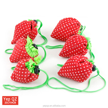 New style portable cute strawberry reusable shopping eco bag foldable bag