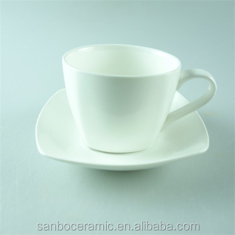 High quality cheap price square white porcelain cup, 250 ml / 250 cc tea coffee cup & saucer