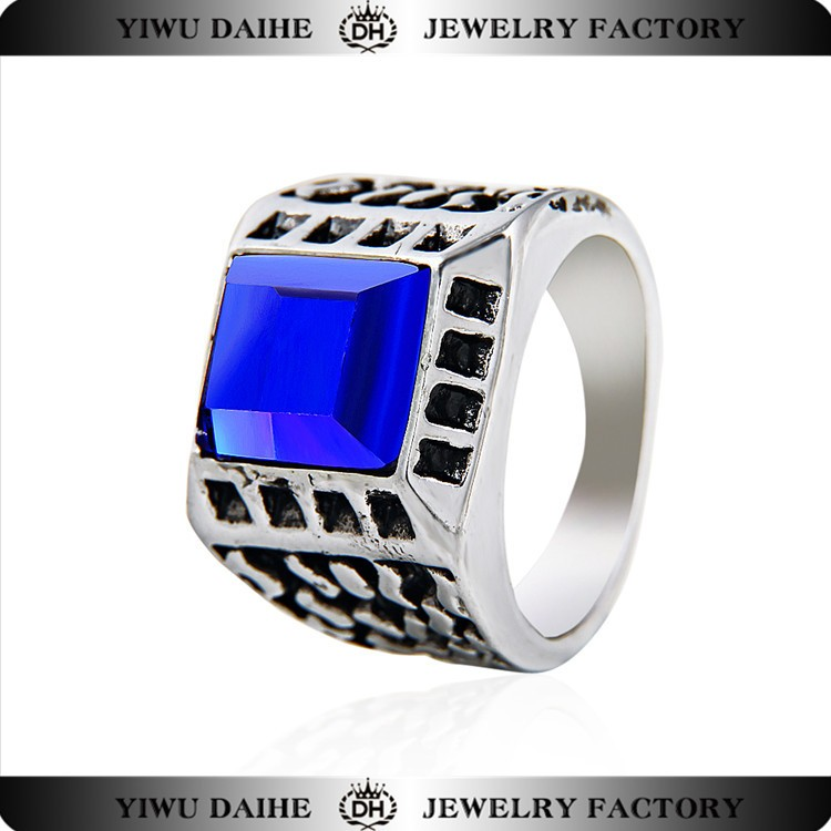 Big Blue Crystal Stone Design White K Plated Stainless Steel Ring