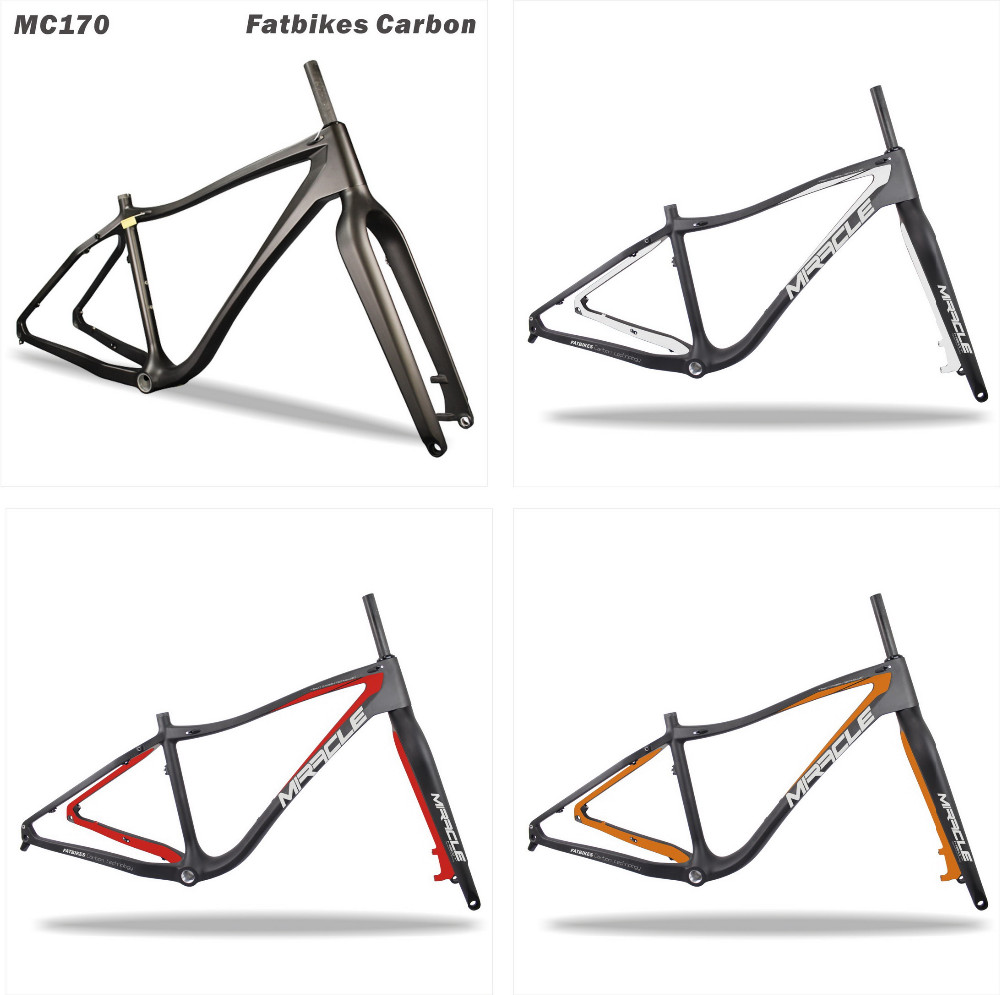 Miracle hot sell Carbon Bicycle Frame, BB100 Carbon Snow Bike Frame fork,T700 Carbon Fat Bike