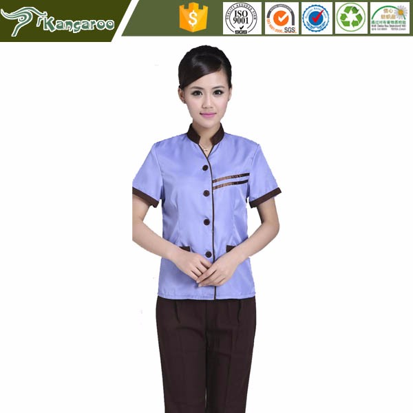 KU019 Carmy Hotel Cleaning Staff Service Cotton Housekeeping Uniform Design