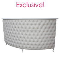 Button & pleat large quarter circle curved spa salon reception desk for nail salon