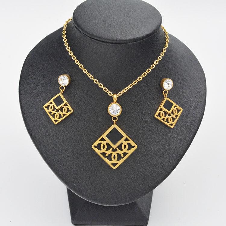 Mulheres pingente de zircão oco geométrica brinco colar conjuntos de jóias