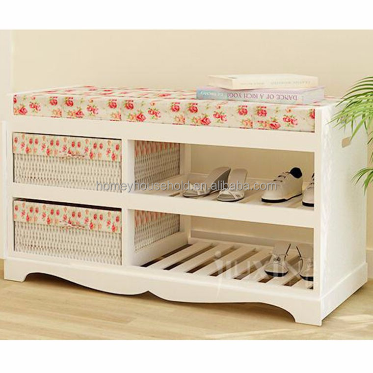 Wooden shoe rack upholstered bench with storage unit wicker basket