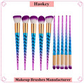 2017 Particular design rainbow color 10pcs unicorn make up brushes
