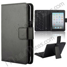 for iPad Case with Keyboard, Best Sale Lichee Pattern PU Leather Case with Wireless Bluetooth Keyboard for iPad Mini, iPad 2