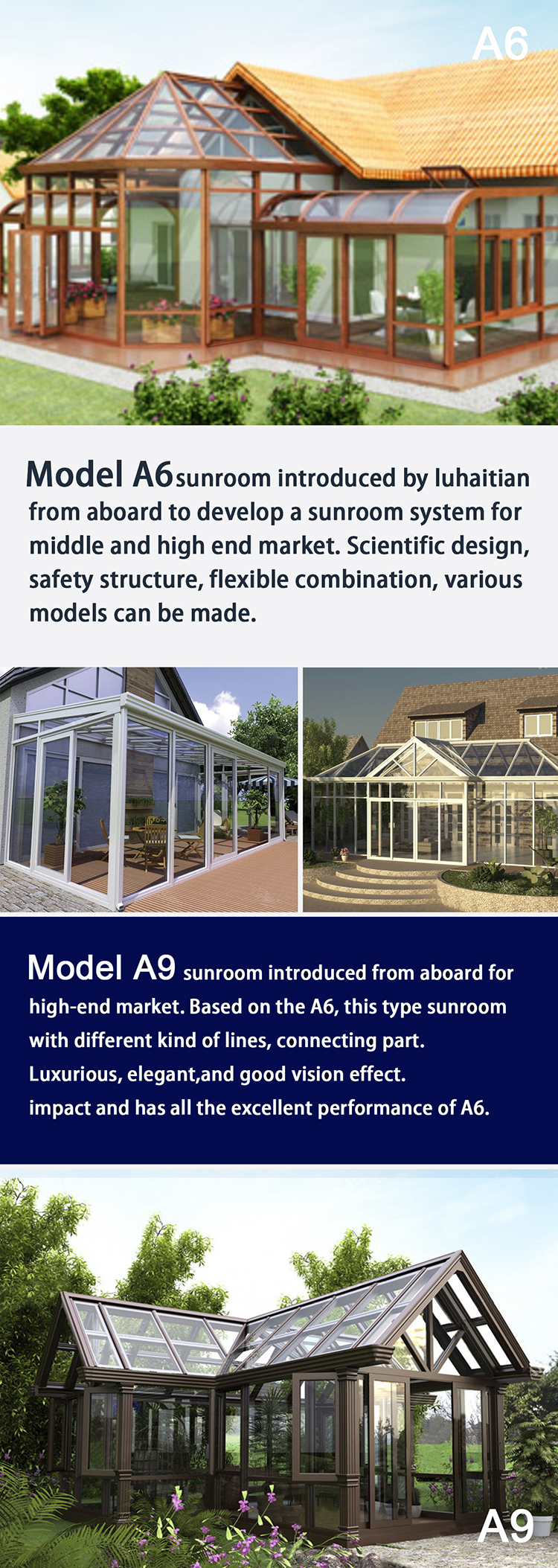 Simple design PVC Sunroom /glass house with pvc frame and tempering glass