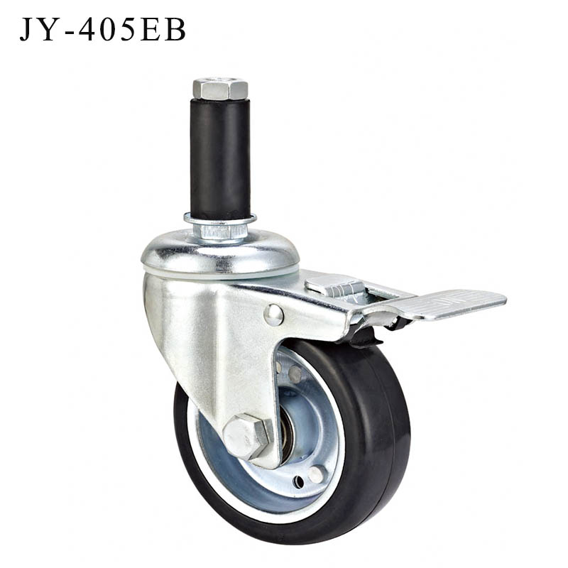 JY-405EB | 4 inch ESD wheel Insert stem double braking caster for anti static workshop