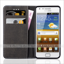 leather flip cover for samsung galaxy s2 mobile phone , for samsung s2 wallet leather case