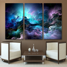 HD Printed 3 piece canvas art abstract psychedelic nebula space Painting decor panel paintings Free shipping