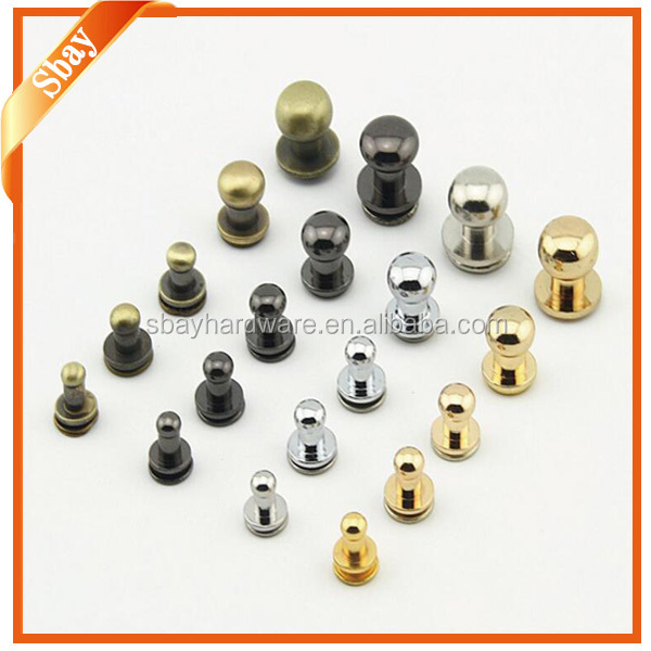 Metal brass decorative studs and rivets for leather