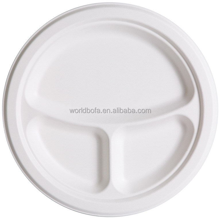 Disposable and biodegradable bagasse 3 compartment plates pulp sugarcane dinner plates