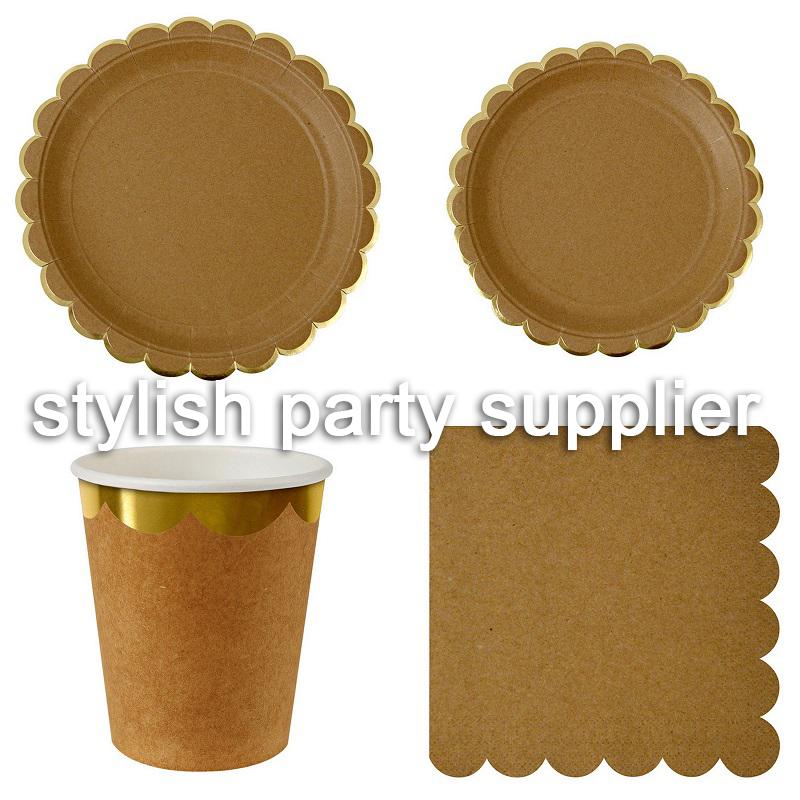 Plain Color Kraft Paper Disposable Tableware Party Supplies Paper Plates Cups Napkins