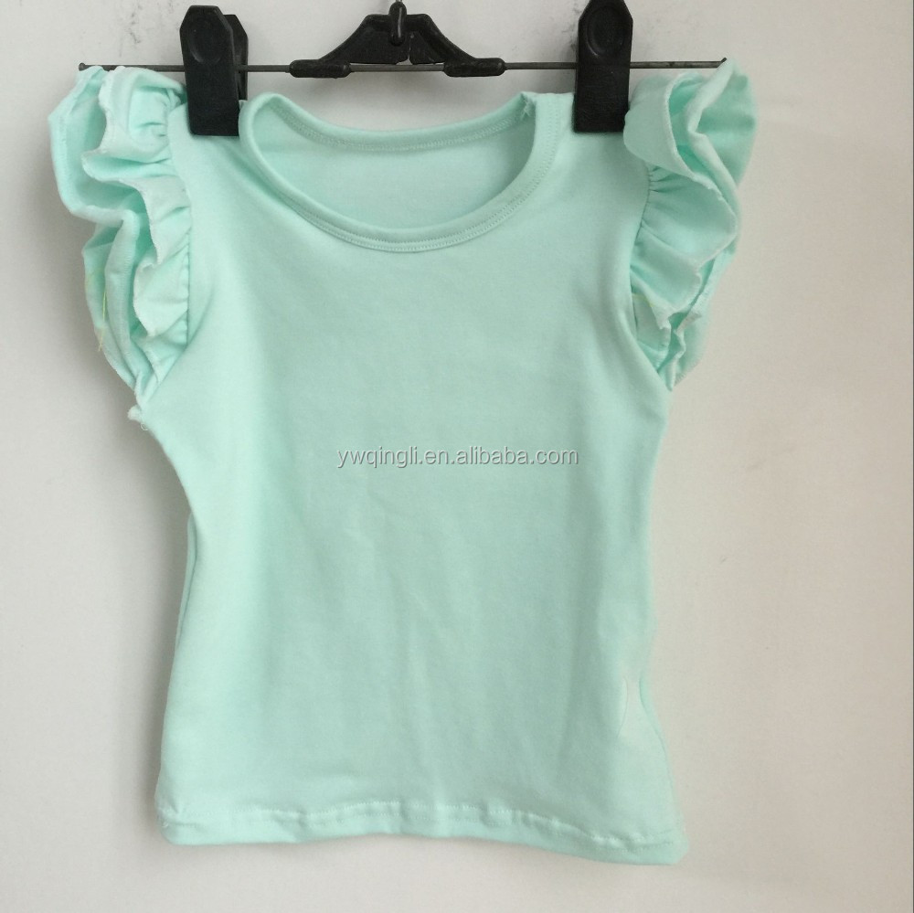 Hot Sale Toddler Girls Tank Top For Girls Solid Color Summer Clothing Baby Cotton Clothes Baby Flutter Sleeve Top