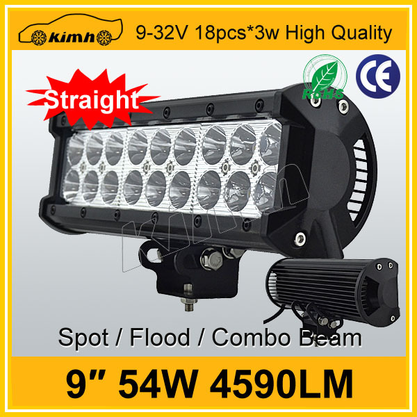 12V/24V,9-32V DC Voltage and Headlight Type 4590LM 9'' 54W double row off road led light bar