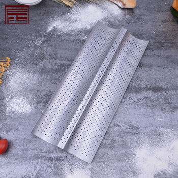 home kitchen cooking tool Nonstick Perforated Baguette Pan tray baking for French Bread Baking 2 Wave Loaves Loaf